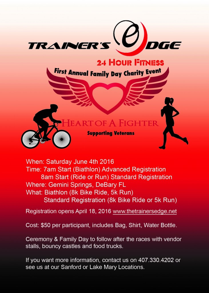 TRAINERS EDGE VETERANS CHARITY FAMILY DAY AND FITNESS EVENT FRONT